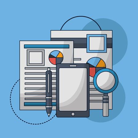 human resources smartphone contract resumen statistics magnifying glass vector illustration
