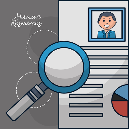 human resources magnifying glass curriculum vector illustration