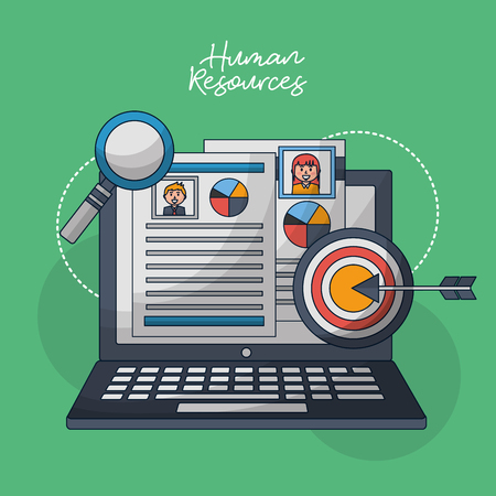 human resources computer curriculum search employed arrow pointed vector illustrtion Çizim