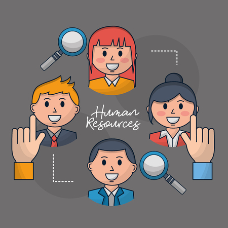 human resources researching employed people hands picking out vector illustration Banque d'images - 112326780