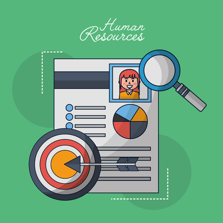human resources curriculum person magnifying glass arrow pointed vector illustration Ilustração
