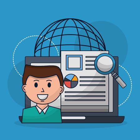 human resources world resumen magnifying glass vector illustration Illustration