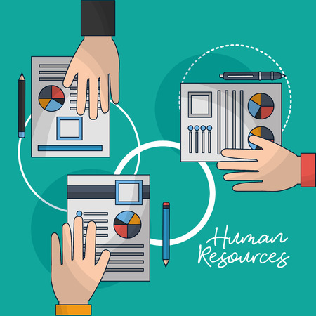 human resources hands holding resumen contract vector illustration Ilustrace