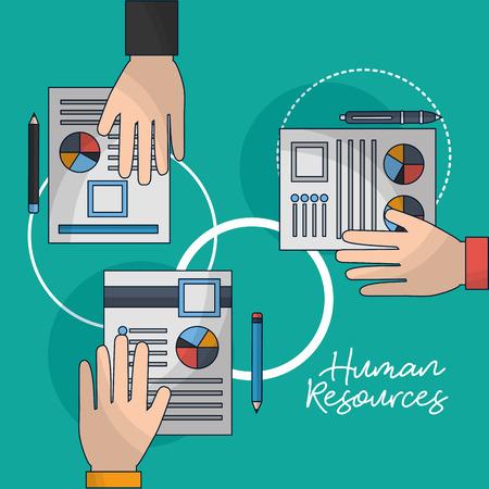 human resources hands holding resumen contract vector illustration Illustration