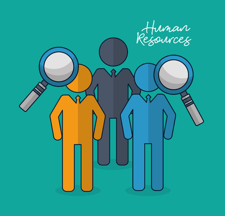 human resources recruitment people magnifying glass vector illustration Çizim