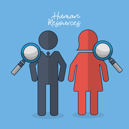 human resources male female magnifying glass colors vector illustration