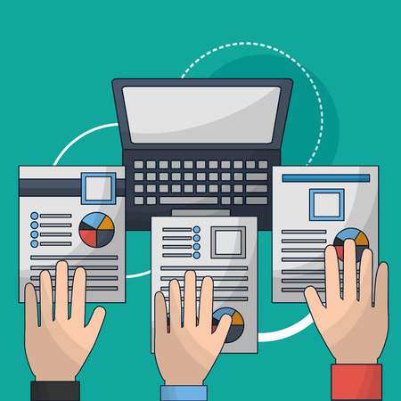 human resources hands holding contract computer vector illustration