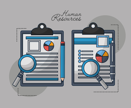 human resources contracts magnifying glass search vector illustration
