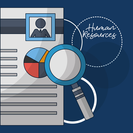 human resources magnifying resumen person vector illustration