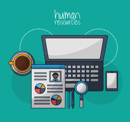 human resources computer curriculum contract smartphone coffee vector illustration