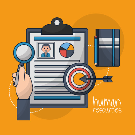 human resources hand holdng magnifying glass curriculum male arrow pointed vector illustration Illusztráció