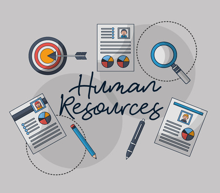 human resources contract curriculums magnifying glass documents vector illustration