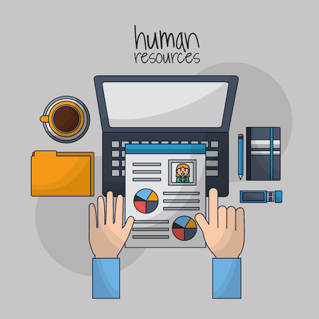 human resources computer with curriculum coffee cup folder vector illutration