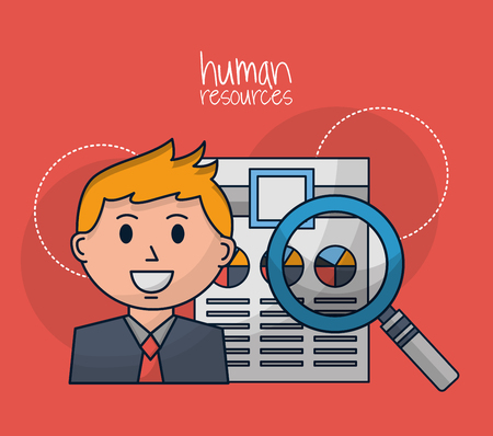 human resources smiling male search resumen vector illustration