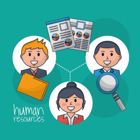 human resources folder magnifiyng glass people smiling vector illustration