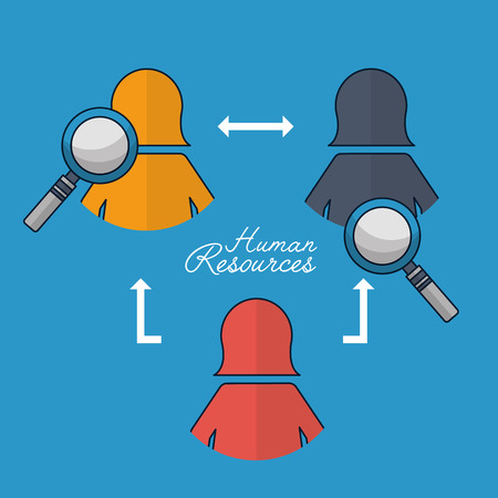 human resources magnifying glass connection females vector illustration Stock Photo