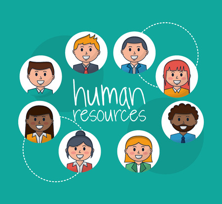 human resources people smiling colors stickers vector illustration