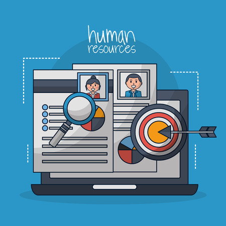 human resources computer screen curriculum search vector illustration Stock Photo