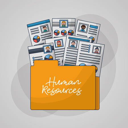 human resources folder with documents curriculums people vector illustration Ilustrace