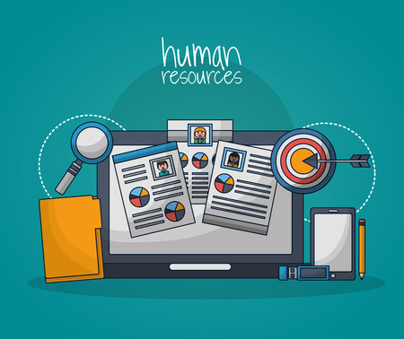 human resources computer screen curriculums arrow pointed folder vector illustration