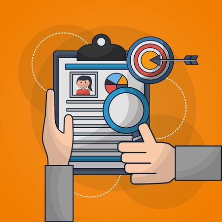 Manos de recursos humanos sosteniendo currículum persona buscar dedo arriba ilustración vectorial