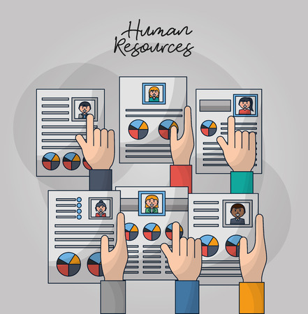 human resources hands holding pointed choose people curriculum vector illustration