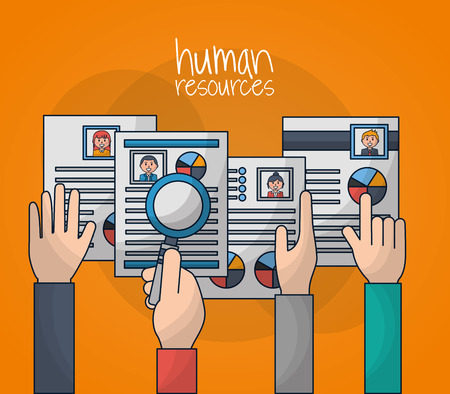 human resources hands holding curriculums magnifying glass vector illustration