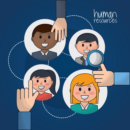le mani delle risorse umane scelgono l'illustrazione vettoriale di ricerca occupata