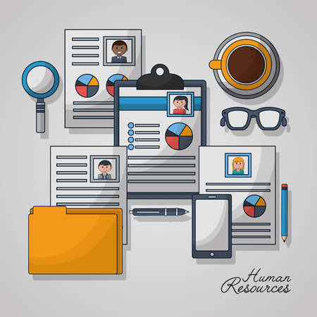 human resources folder curriculum glasses cup coffee vector illustration