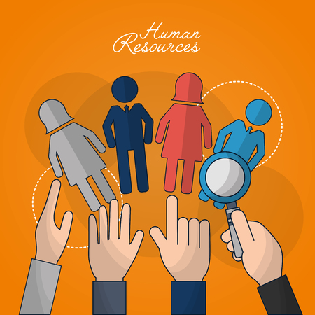 human resources people picking out employed male female search vector illustration