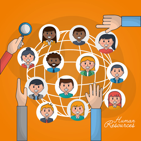 human resources world people job picking out vector illustration