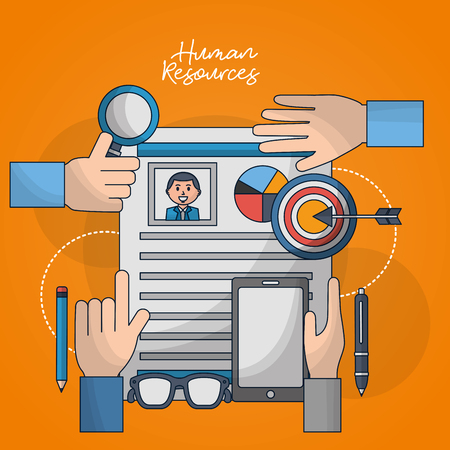 human resources hands pointed finger up curriculum technology pens vector illustration Stock fotó
