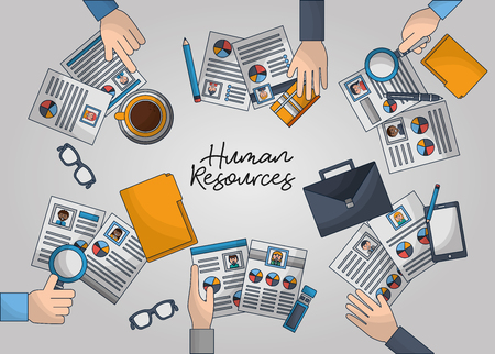 human resources handbag glasses hands with curriculums vector illustration