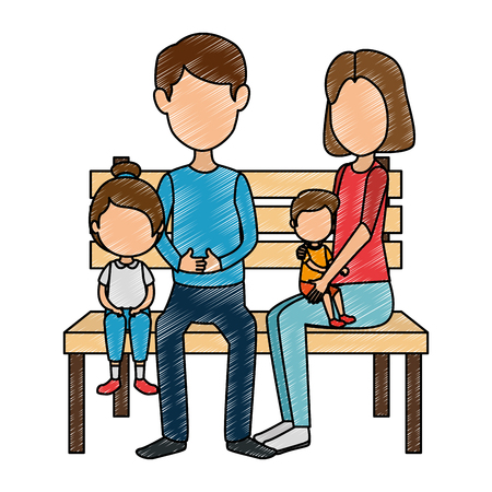 parents couple with kids in the park chair characters vector illustration design