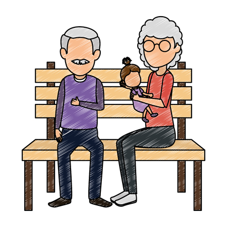 grandparents couple with granddaughter in park chair vector illustration