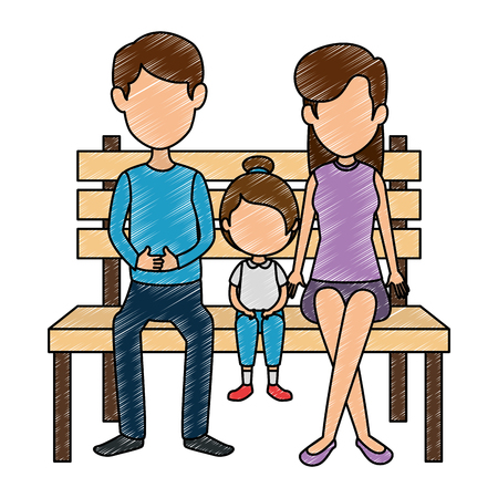 parents couple with daughter in the park chair vector illustration design