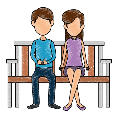 young couple in the park chair vector illustration design
