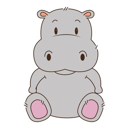 ładny i uroczy projekt ilustracji wektorowych postaci hipopotama