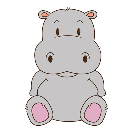 cute and adorable hippo character vector illustration design 矢量图像