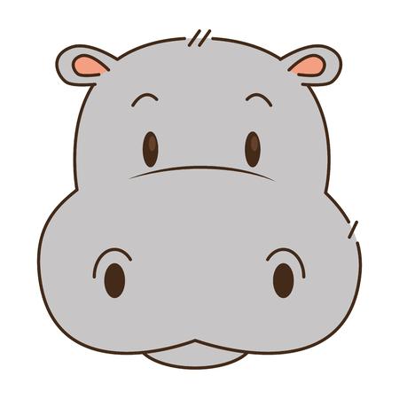 Diseño lindo y adorable del ejemplo del vector del carácter del hipopótamo Ilustración de vector