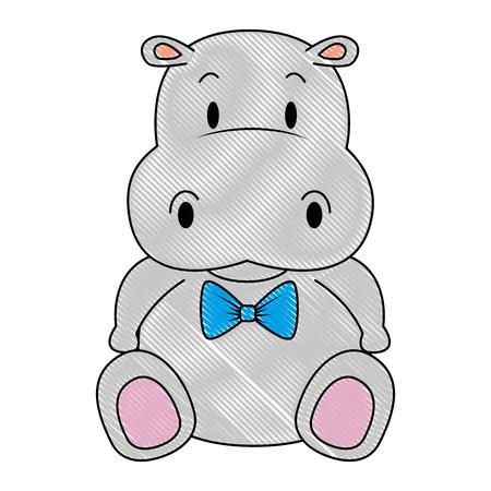 Conception d'illustration vectorielle mignon et adorable caractère hippopotame Vecteurs