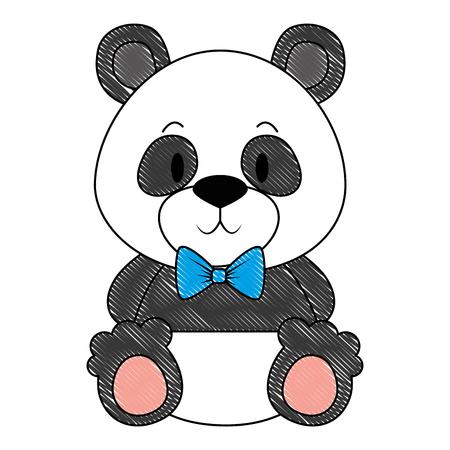 mignon et adorable panda bear caractère vector illustration design