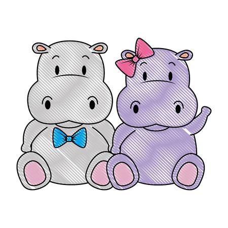 Lindo y adorable pareja de hipopótamos personajes, diseño de ilustraciones vectoriales