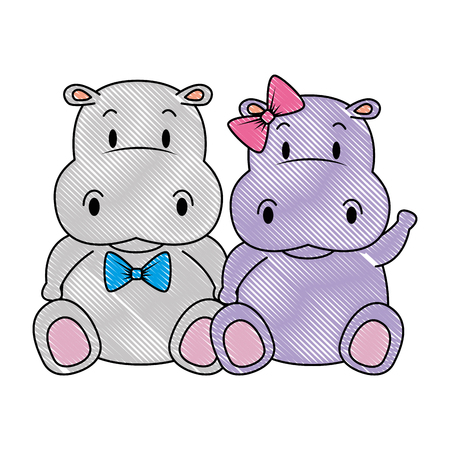 cute and adorable hippo couple characters vector illustration design