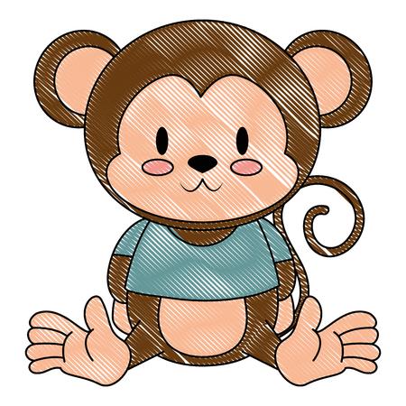 cute and adorable monkey character vector illustration design Ilustración de vector