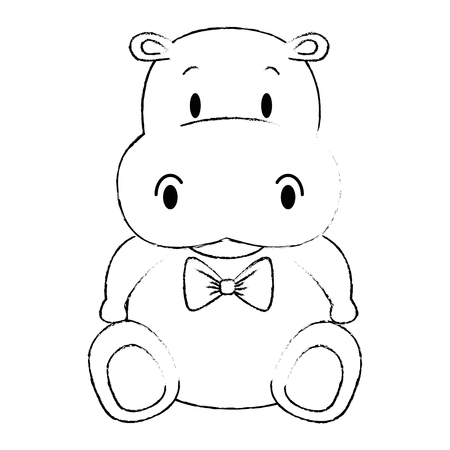 cute and adorable hippo character vector illustration design