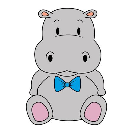 Diseño lindo y adorable del ejemplo del vector del carácter del hipopótamo