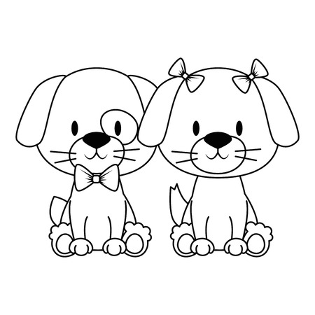 cute and adorable couple dog characters vector illustration design