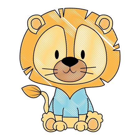 Diseño lindo y adorable del ejemplo del vector del carácter del león
