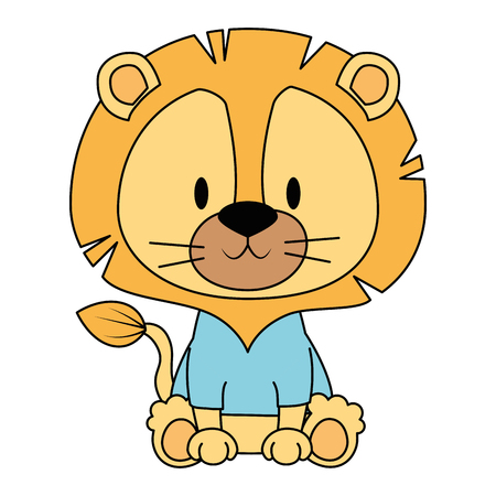 cute and adorable lion character vector illustration design